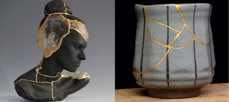 L'art du kintsugi appliqué à une statue et un gobelet en porcelaine