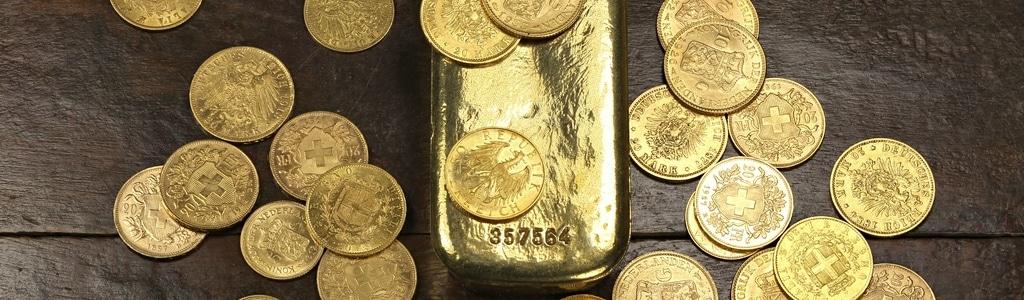 Pièces d'or et lingot d'or