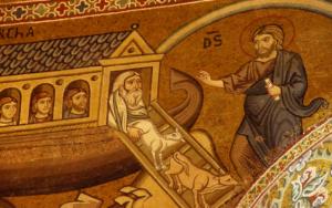 Mosaïque en or montrant l'arche de Noé dans la Chapelle Palatine de Palerme, en Sicile