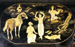 Gravure d'or montrant l'histoire du Bouddha dans le temple de Cheng Hoon Teng, en Malaisie