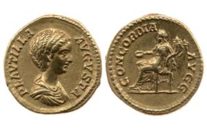 Pièce d'or datant de l'Empire Romain, 202-205 après J.C, British Museum