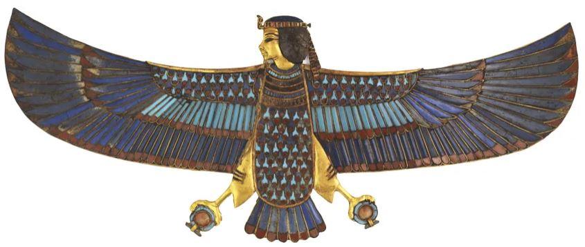 Pectoral en or de l'oiseau Ba avec incrustations de verre GEM 759, 18e dynastie, règne de Toutânkhamon, 1336 - 1326 av. J.-C. Or, verre - Crédits  Laboratoriorosso, ViterboItaly